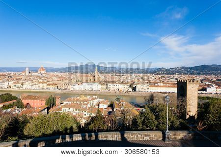 Florence Aerial View. Florence Cathedral And Brunelleschi Dome. Italian Landmark, Tuscany
