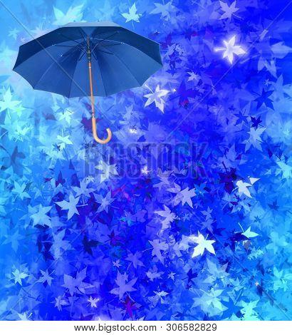 Blue Umbrella On Turquoise Autumn Leafs Collage Defocused Background. Weather Concept.