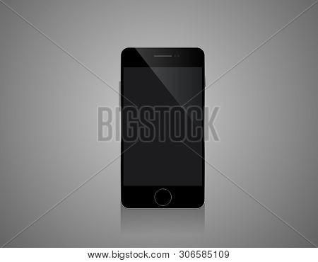 Mobile Smartphones Mock-up In Black Colors - White Background Illustartion Design