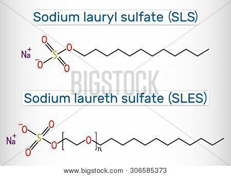 Sodium Dodecyl Sulfate Sds , Sodium Lauryl Sulfate Sls , Sodium Laureth Sulfate Sles Molecule. It Is
