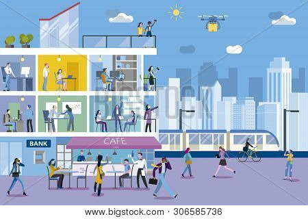 Office Building With Business People Working In Different Departments, And City Landscape.