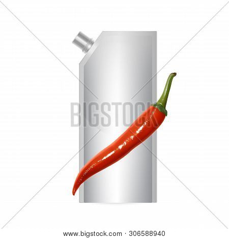 Blank Plastic Spouted Pouch Template For Puree, Ketchup Or Sauces, Packaging Of White Color. Vector