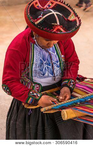 Cuzco, Peru - April 30, 2019. Traditional Handmade Wool Production