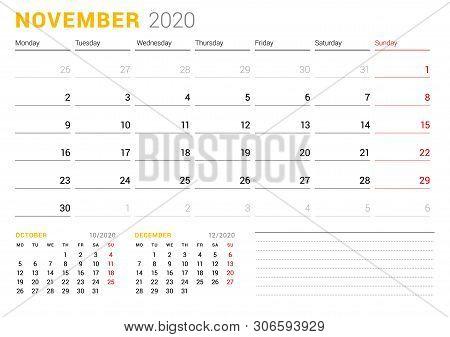 Calendar Template For November 2020. Business Planner. Stationery Design. Week Starts On Monday. Vec