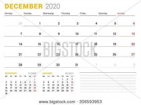Calendar Template For December 2020. Business Planner. Stationery Design. Week Starts On Monday. Vec