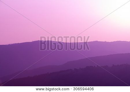 ultra violet purple summer landscape  nature in sunset in mountains and hills on countryside abstract lines and curves background
