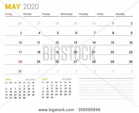 Calendar Template For May 2020. Business Planner. Stationery Design. Week Starts On Sunday. Vector I