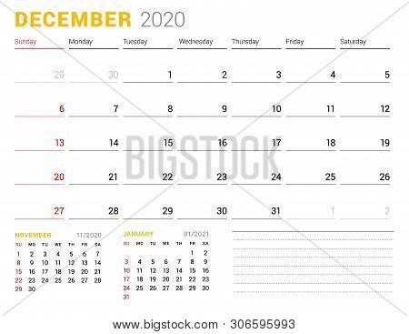 Calendar Template For December 2020. Business Planner. Stationery Design. Week Starts On Sunday. Vec