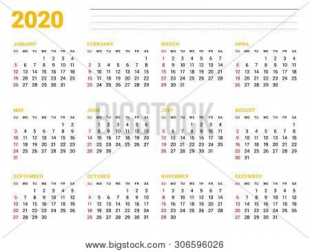 Calendar Template For 2020 Year. Stationery Design. Week Starts On Sunday. 12 Months On The Page. Ve