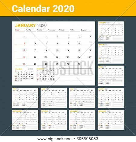 Calendar Template For 2020 Year. Business Planner. Stationery Design. Week Starts On Sunday. Vector