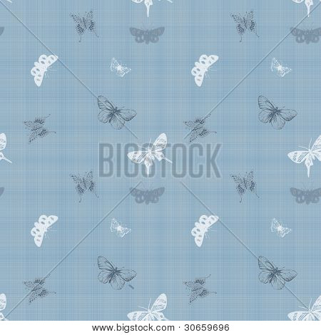 Seamless Butterfly Blue Fabric