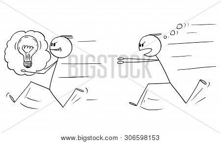 Vector Cartoon Stick Figure Drawing Conceptual Illustration Of Businessman Stealing An Idea To Anoth