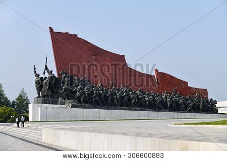 Pyongyang, North Korea - May 1, 2019: Mansudae Monument. Mansudae Is The Most Respected Monument Of