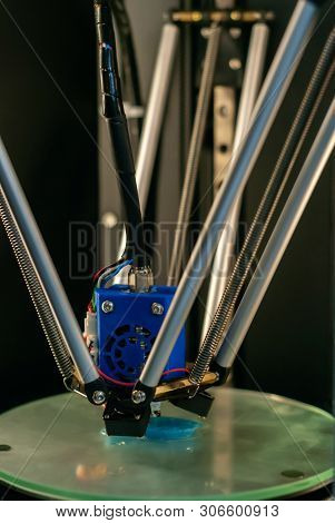 3d Printer Printhead During Printing Volume Detail In Close-up With Blurred Background
