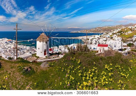 Mykonos City, Chora, With White Windmill And Old Port On The Island Mykonos, The Island Of The Winds