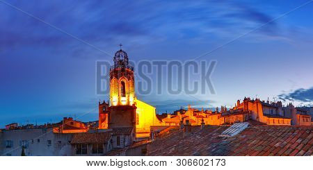 Panoramic View Of Belltower Of Church Of The Holy Ghost And Roofs Of Old Town In Aix-en-provence Dur
