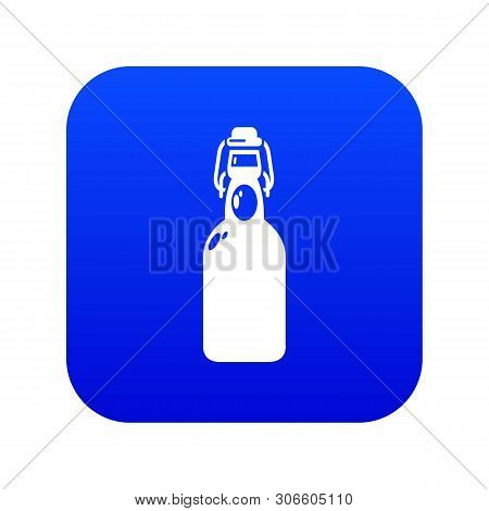 Bottle With Bung Icon Blue Vector Isolated On White Background