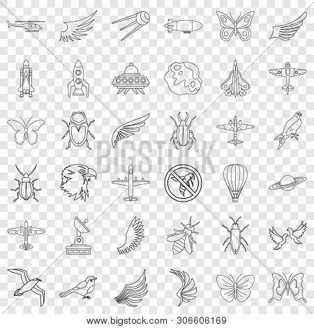 Aerospace Icons Set. Outline Style Of 36 Aerospace Vector Icons For Web For Any Design