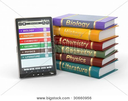 E-book reader. Textbooks and tablet pc. 3d