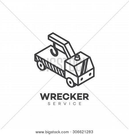 Wrecker Service Logo Design Template In Linear Style. Vector Illustration.