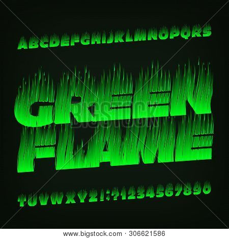 Green Flame alphabet font. Fire effect type letters and numbers. Stock vector typescript for your design. poster