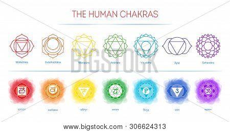Chakras Set: Muladhara, Swadhisthana, Manipura, Anahata, Vishuddha, Ajna, Sahasrara. Vector Line Sym