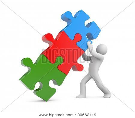 3d people with stack of puzzle. Image contain clipping path