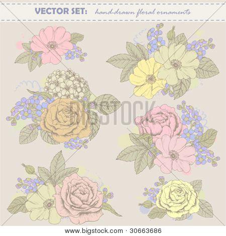 Vector vintage set of hand drawn floral elements