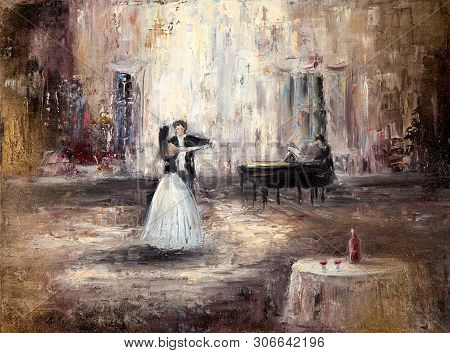 Abstract Painting Of Couple Dancing Tango Or Waltz On Live Piano Music  On Canvas.modern Impressioni