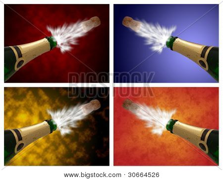 Open A Champagne Bottle Against Different Colorful Abstract Background.