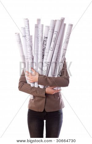Woman holds a rolled-up drawings