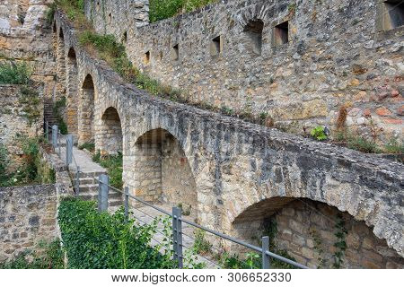 Medieval Fortifications Luxembourg City Downtown Grund With Stairs And Pathway