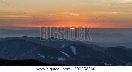 Sunset With Colorful Sky And Hills From Veterne Hill In Winter Mala Fatra Mountains In Slovakia