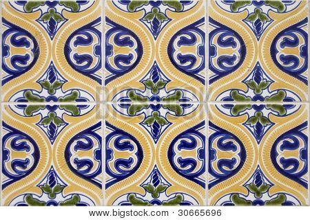 Detail pattern of Portuguese old ceramic tiles (azulejos)