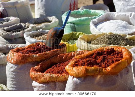 Cooking spices on sale in a city market at Marrakesh, Morocco