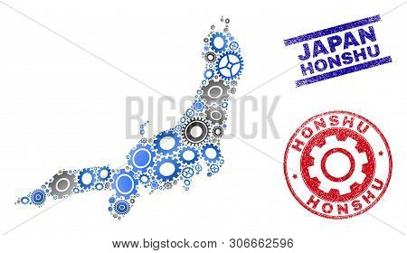 Wheel Vector Honshu Island Map Collage And Stamps. Abstract Honshu Island Map Is Organized Of Gradie