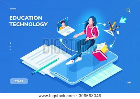 Futuristic Education Technology Page For Smartphone Application. Isometric Banner For Online Educati