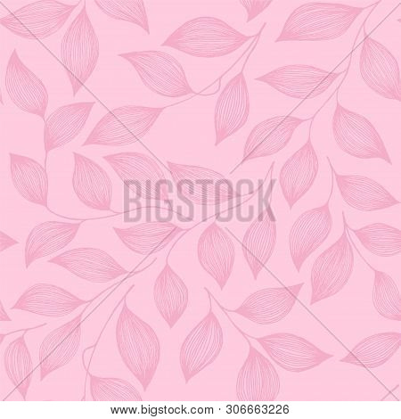 Wrapping Tea Leaves Organic Seamless Pattern Vector. Cute Tea Plant Bush Pink Leaves Floral Fabric O