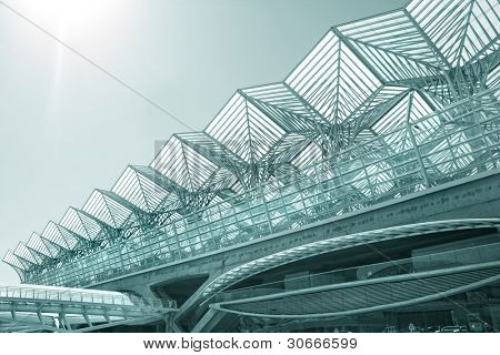Business center of modern architecture building (steel and glass)