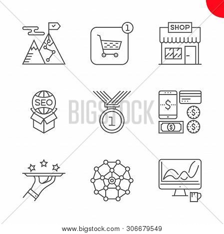 Seo Line Icons Set. Seo Related Vector Line Icons. Strategy For Victory, Dashboard, Premium Services