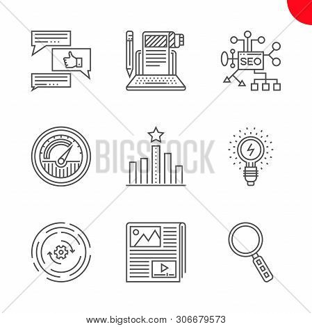 Seo Related Vector Line Icons Set. Isolated On White Background. Seo Planing, Article Submission, Tr
