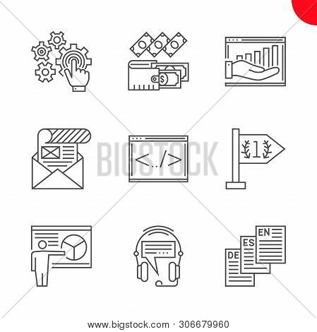 Seo Line Icons Set. Seo Related Vector Line Icons. Isolated On White Background. Coding, Mailing, In