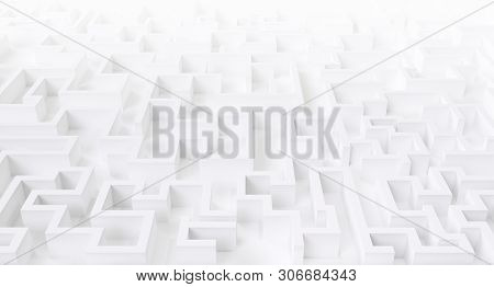 Illustration Of A White Large Maze Or Labyrinth.3d Rendering.