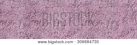 Dusty Pink Painted Stone Wall Wide Texture. Colored Pebble Dash Rough Surface Panoramic Background