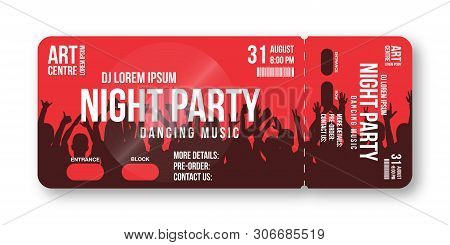 Concert Ticket Template. Concert, Party, Disco Or Festival Ticket Design Template With People Crowd