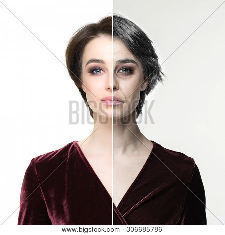 Anti-aging, beauty treatment, aging and youth, lifting, skincare, plastic surgery concept. Beautiful girl with half young female face and half face of old woman with wrinkles, dark circles
