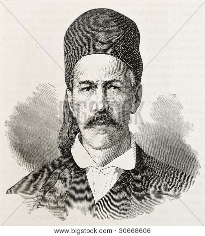 B. Roufos old engraved portrait (member of provisional Greek government). Created by Chenu, published on L'illustration, Paris, 1863.