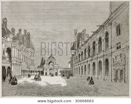 Fontainebleau court and Porte-Dauphine old view. Created by Therond, published on Le Tour du Monde, Paris, 1867