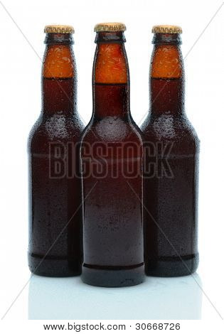 Three brown beer bottles on a white background with reflection. Bottles are covered in condensation.