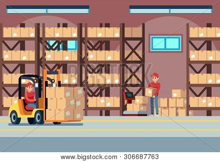 Warehouse Interior. People Loaders Working In Industry Stockroom, Transportation And Forklift, Deliv
